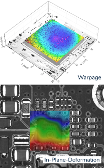 Thermal warpage and in-plane deformation on an electronic component (BGA) with microProf® TL